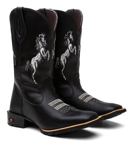 Bota Botina Texana Country Masculina Couro Cavalos Barretos Original