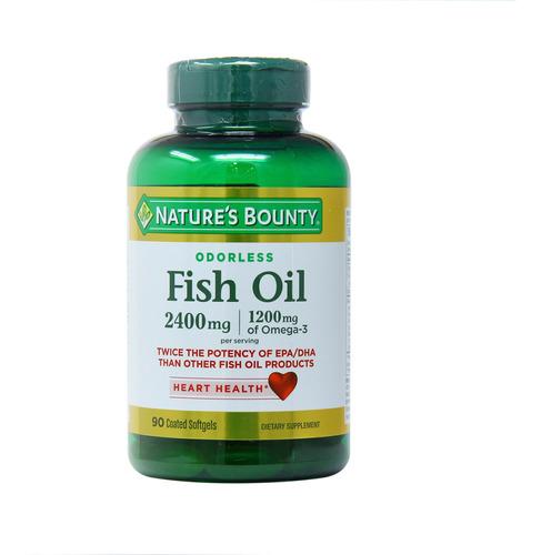 Omega3 Nature's Bounty Fish Oil 2400mg 90 Caps Sem Cheiro Original