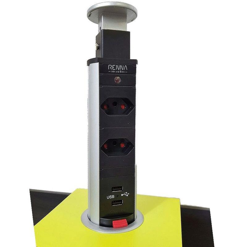 Torre de Tomada MULTIPLUG 2 tomadas+2 USB Sistema Click-36.503.025- Renna Soluções
