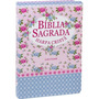 Bíblia Sagrada Com Harpa Cristã Letra Grande /flor /azul