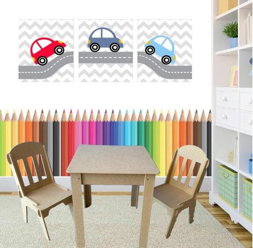 Kit Conjunto Mesa Infantil Em Madeira Com 2 Cadeiras Mdf Cru Original