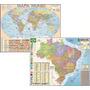 Kit Com 2 Mapas Atlas Gigantes Mundi E Brasil 1, 20 X 0, 90m