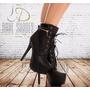 Bota Estilo Timberland Preta Black Feminina Salto 15cm