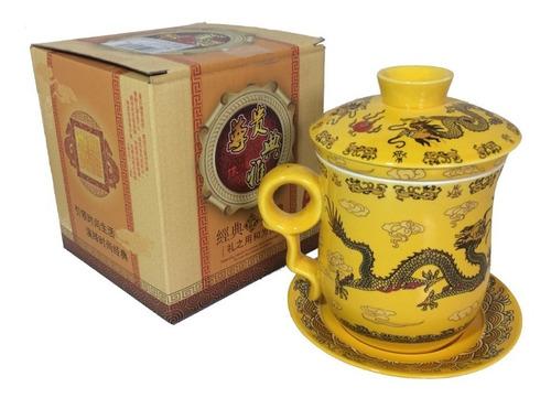 Caneca Infusor De Chá Dragão Oriental Cerâmica Pires Amarela Original