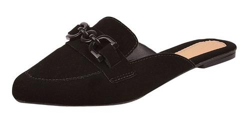Sapatilha Sapato Feminina Mule Nobuck Correntinha Macerata Original