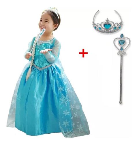 Vestido Fantasia Infantil Frozen Rainha Elsa + Acessórios Original