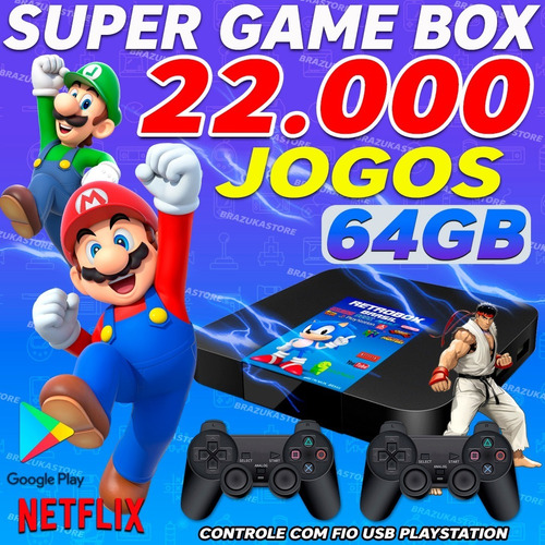 Video Game Portatil 20000 Jogos Antigos C/ 2 Controles Play2 Original