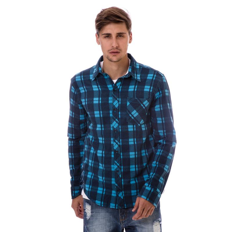 Camisa Xadrez Long Island Azul