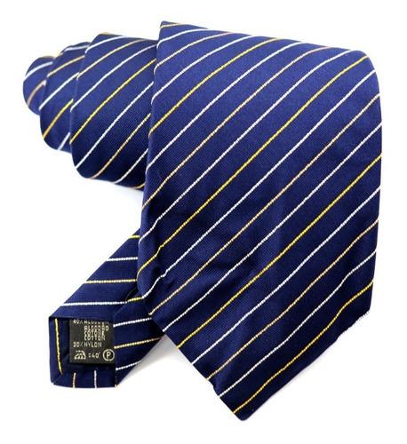 Oferta Gravata Italiana Azul Listrada Dourado E Branco B0393 Original