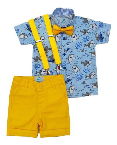 Conjunto Infantil Camisa Baby Shark Azul claro