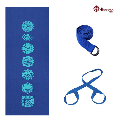 Kit Yoga Azul Estampa 7chakras 4mm+alça+cinto De Alongamento