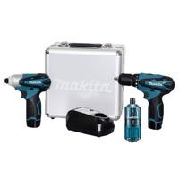 Kit Parafusadeira e Furadeira e Parafusadeira de Impacto à Bateria 12 Volts - LCT204 - Makita + Kit de Bits 18 Peças - B-28896 - Makita
