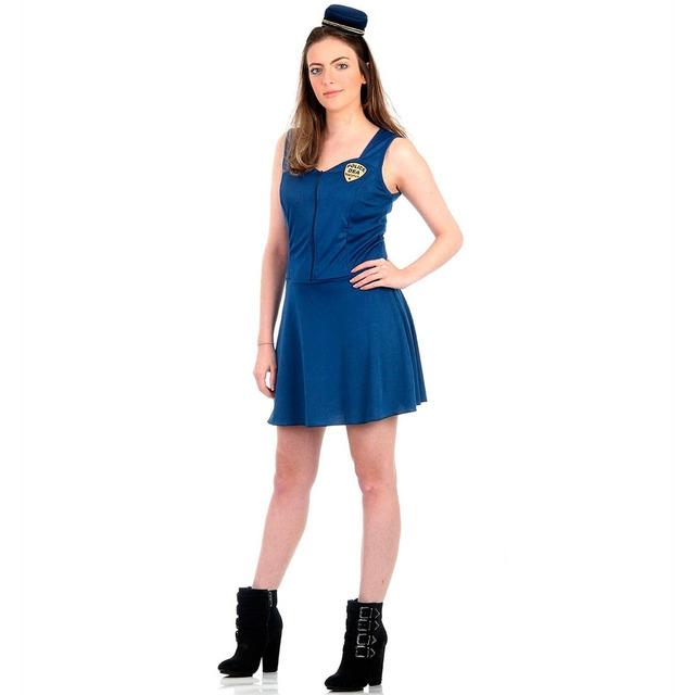 50d5f8b5a5 Fantasia Policial Feminino Adulto Luxo Azul Heat Girls em Santana de ...