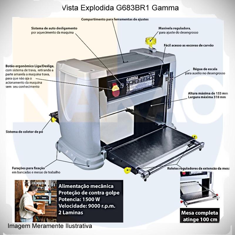 Plaina Desengrosso 12. 1/2 1500 Watts - G683BR - Gamma Ferramentas