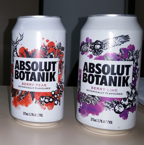 Vodka Absolut Botanik Par Latas 2 Unidades - Colecao Raras Original