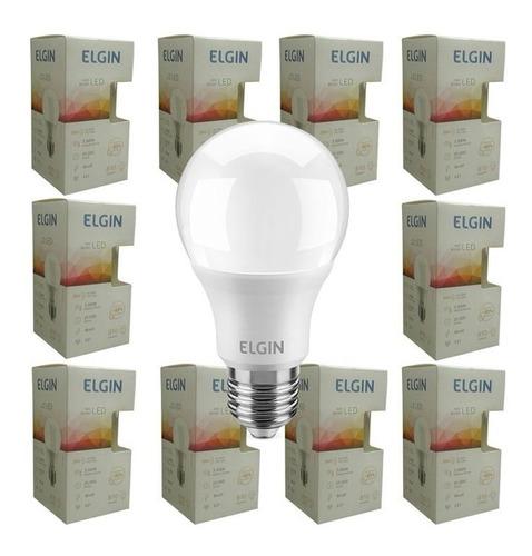 Kit 10 Lampada Led 9w Bulbo Elgin Branco Frio Branco Quente Original