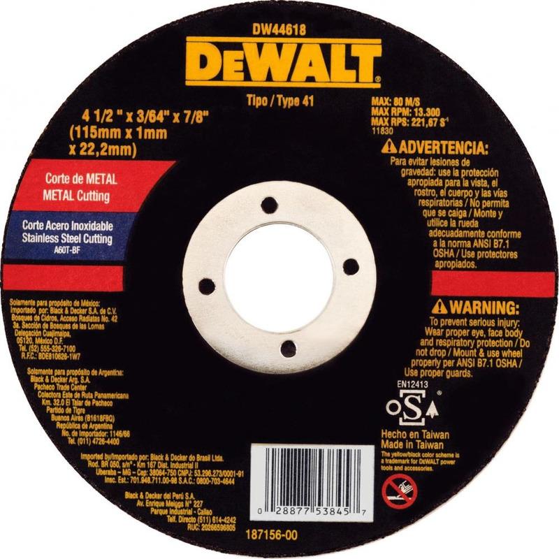 "Disco Corte Dewalt 4.1/2 x 1mm x 7/8"" Fino para Inox"