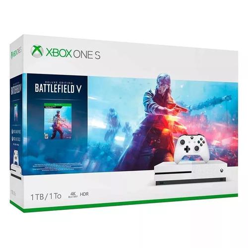 Xbox One S 1tb Jogo Batlefield V Hdr Bray 4k Novo Nfe Anatel