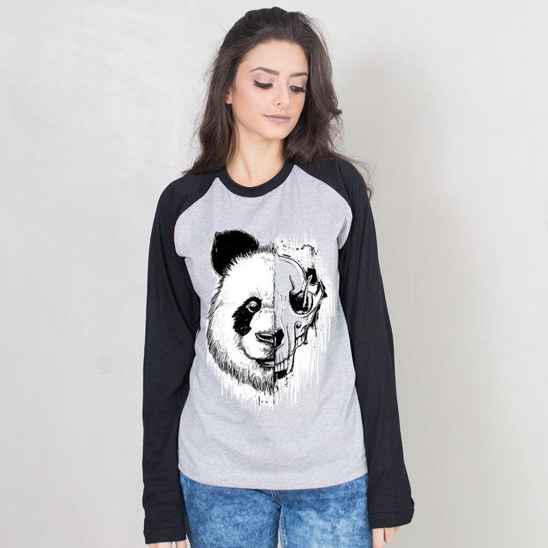 MANGA LONGA RAGLAN CINZA - PANDA