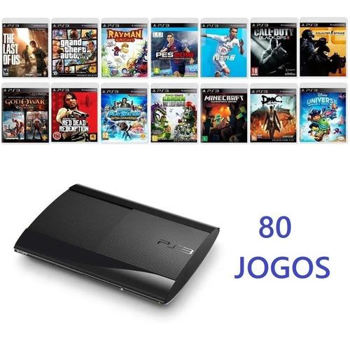 Playstation 3 Ps3 250 Gb Super Slim + 80 Jogos Completos Original