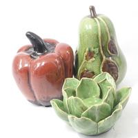 Moranga Pêra e Flor em cerâmica para decoração - Vermelho e Verde