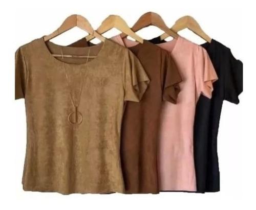 Kit 3 Blusinhas T-shirts Sued Moda Lançamento Outono-inverno Original