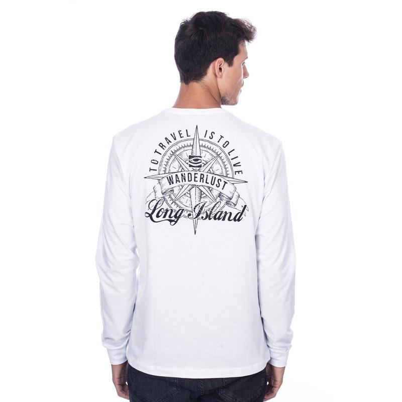 Camiseta Manga Longa Wanderlust Branca