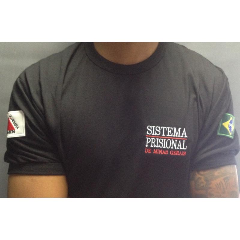 Camisa Preta Sistema Prisional - Bordada - SEAP