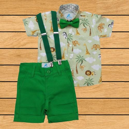 Roupa Festa Camisa Safari Bermuda Suspensorio E Gravata