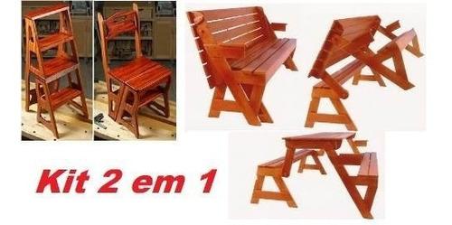 Projeto Marcenaria Kit Cadeira Vira Escada + Mesa Vira Banco Original