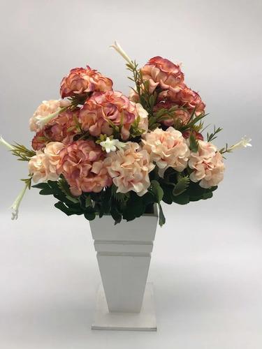 Hortênsias Artificial Buque Com 11 Flores Total Azul Rosa Original