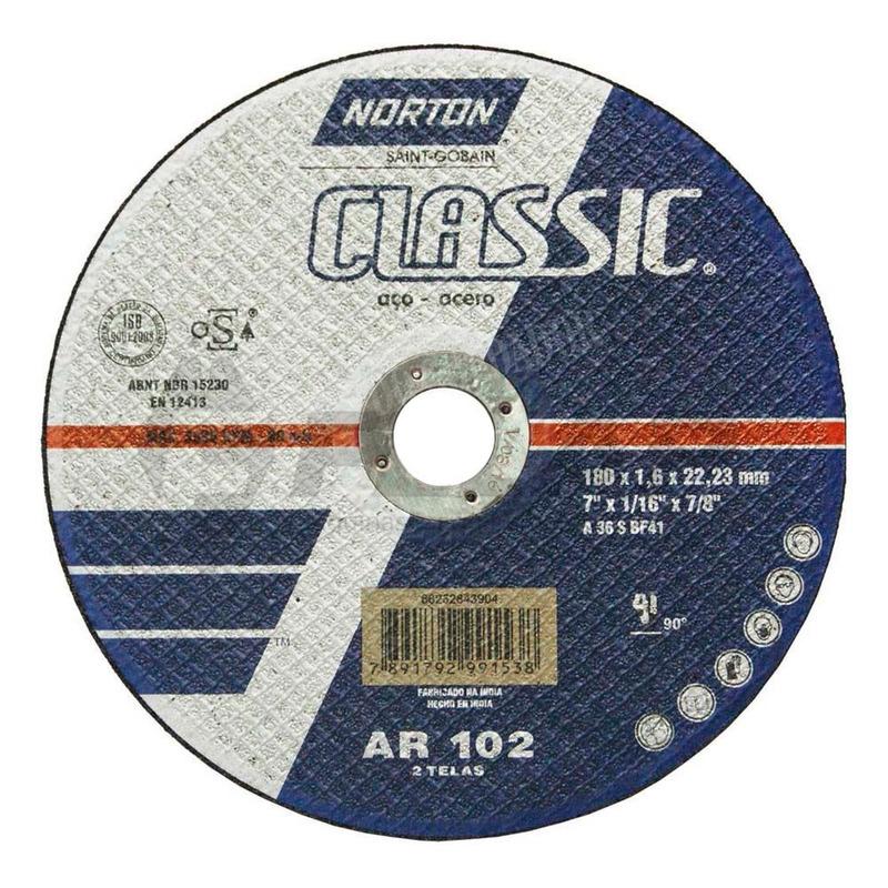 Disco de Corte Inox AR102 Norton 180 x 1,6 x 22,23