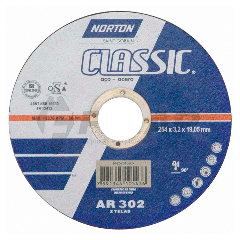 "Disco de Corte Classic AR302 Norton 10"" x 1/8"" x 3/4"""