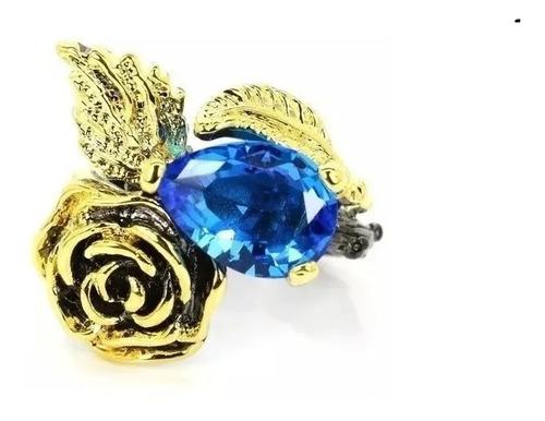 Anel Prata 925 Pedra Azul Topázio E Safira Rosa Rodio Negro Original