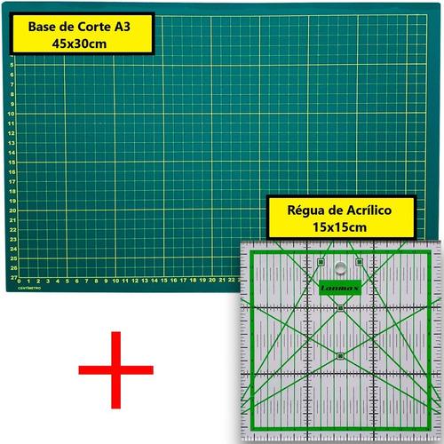 Base De Corte A3 45x30cm + Régua 15x15cm Patchwork Scrapbook Original