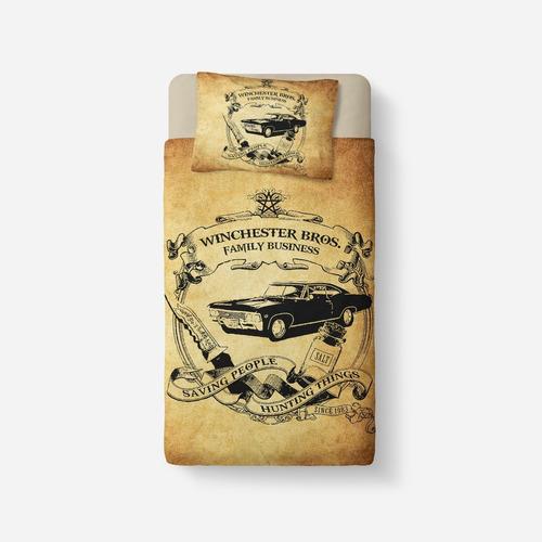Conjunto Lençol E Capa Travesseiro Supernatural Impala Original