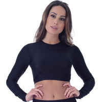 Top Summer Soul Cropped Manga Longa Preto