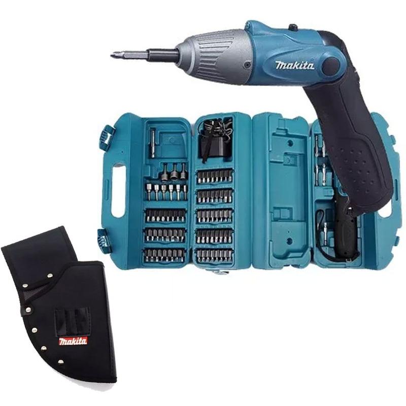 """Kit - Parafusadeira à Bateria Dobrável (4,8V) 1/4"""" C/ Maleta de acessórios - 6723DW + Coldre - Porta Ferramentas - AR0015M"""