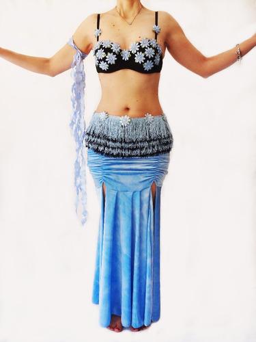 Figurino Usado Azul E Preto Dança Do Ventre Original