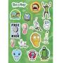 Cartela Kit Com 15 Stickers Tv Serie Rick And Morty