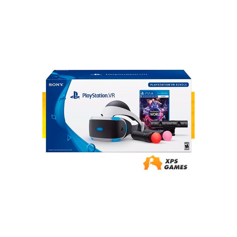 Playstation Vr 2, Oculos Realidade Playstation 4 - Bundle Worlds - Completo