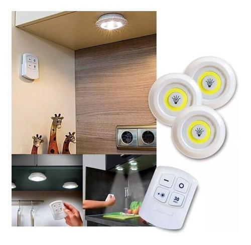 Jogo C/ 3 Lampada Luminaria Led Spot Sem Fio Controle Remoto Original