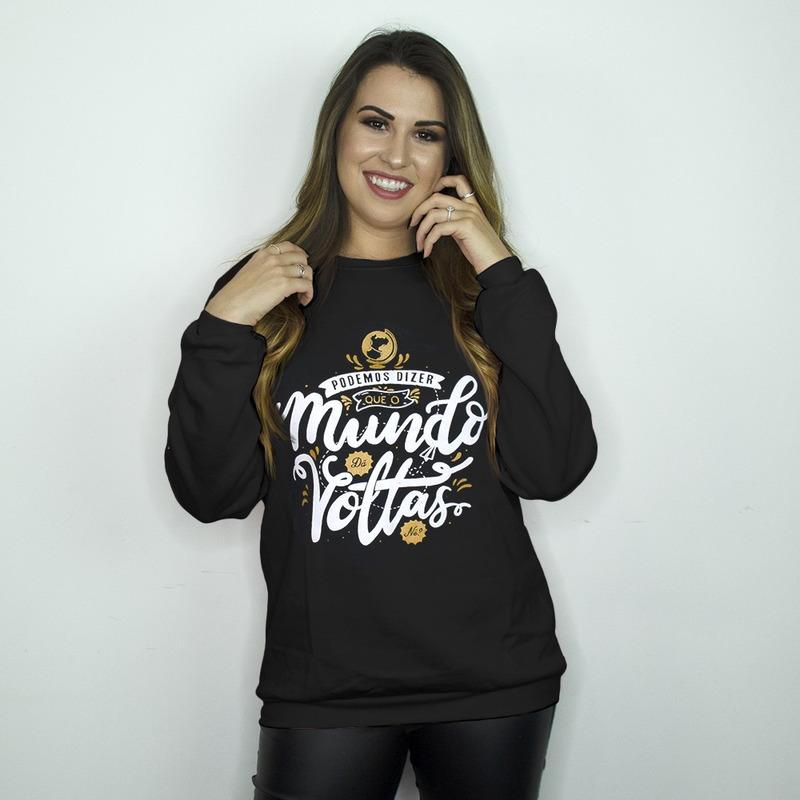 MOLETOM BÁSICO PRETO - O MUNDO DA VOLTAS