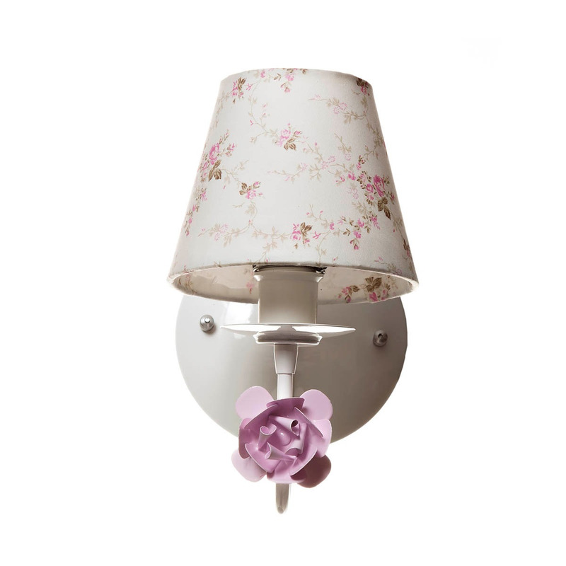 Arandela 1 Lampada Flor Rosa