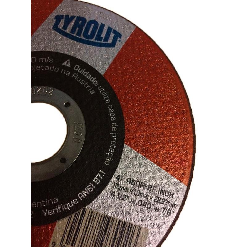 DISCO DE CORTE 115X1,0X22,2 A60RBF INOX TYROLIT