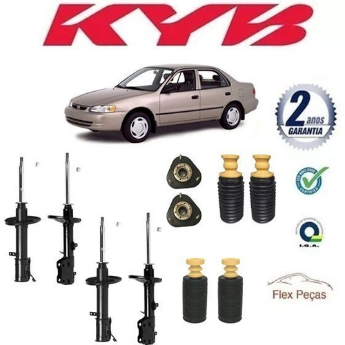 4 Amortecedores + Kits Toyota Corolla 98-02 Kayaba Original