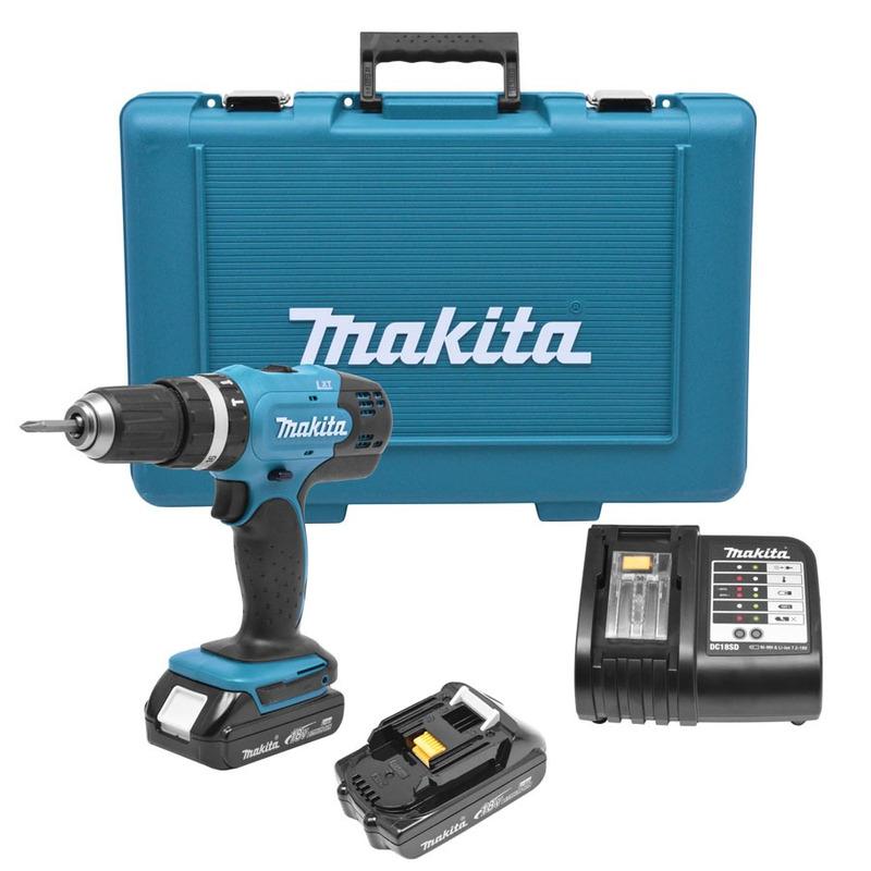 Kit Furadeira de Impacto e Parafusadeira 13mm + Baterias 18V - DHP453SHE - Makita - 110 Volts