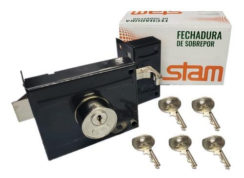 Fechadura Sobrepor P/ Portão Stam 701/100 Com 5 Chaves Original