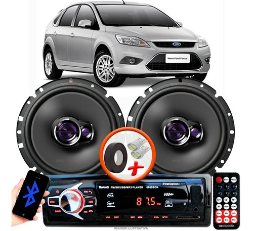 Som Carro Radio Mp3 + 2 Falante Pioneer D 6' 1760 Ford Focus Original