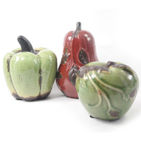 Frutas em cerâmica para decoração - Verde e Vermelha